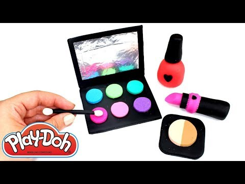 Play Doh Makeup How to Make Lipstick Eyeshadow and Nail Polish with Play doh