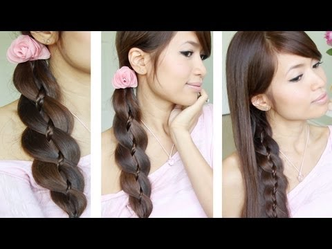 Unique 4 Strand Braid (Braid in Braid) Hairstyles for Medium Long Hair Tutorial