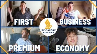 AMAZING Singapore Airlines Flight In All Four Classes: First Class, Business, Premium & Economy