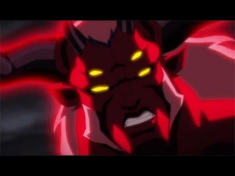 Тригон ступает на Землю через портал (Лига справедливости против Юных титанов 2016)