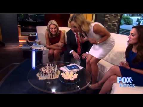 Elisabeth Hasselbeck holds hers breasts and blows for her 37 birthday on Fox and friends
