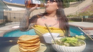 let me make you hungry by the pool /mukbang shrimp tostadas and beer