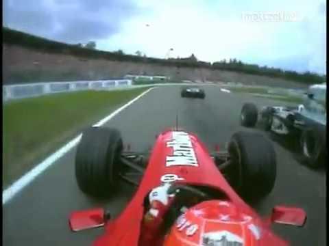 Formula 1 Schumacher & Fisichella Crash Germany Hockenhein 2000