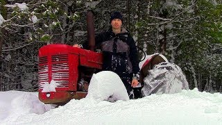 Snow Too Deep for Snowmobile! & DIY Rocket Stove- Log Cabin Update- Ep 9.11