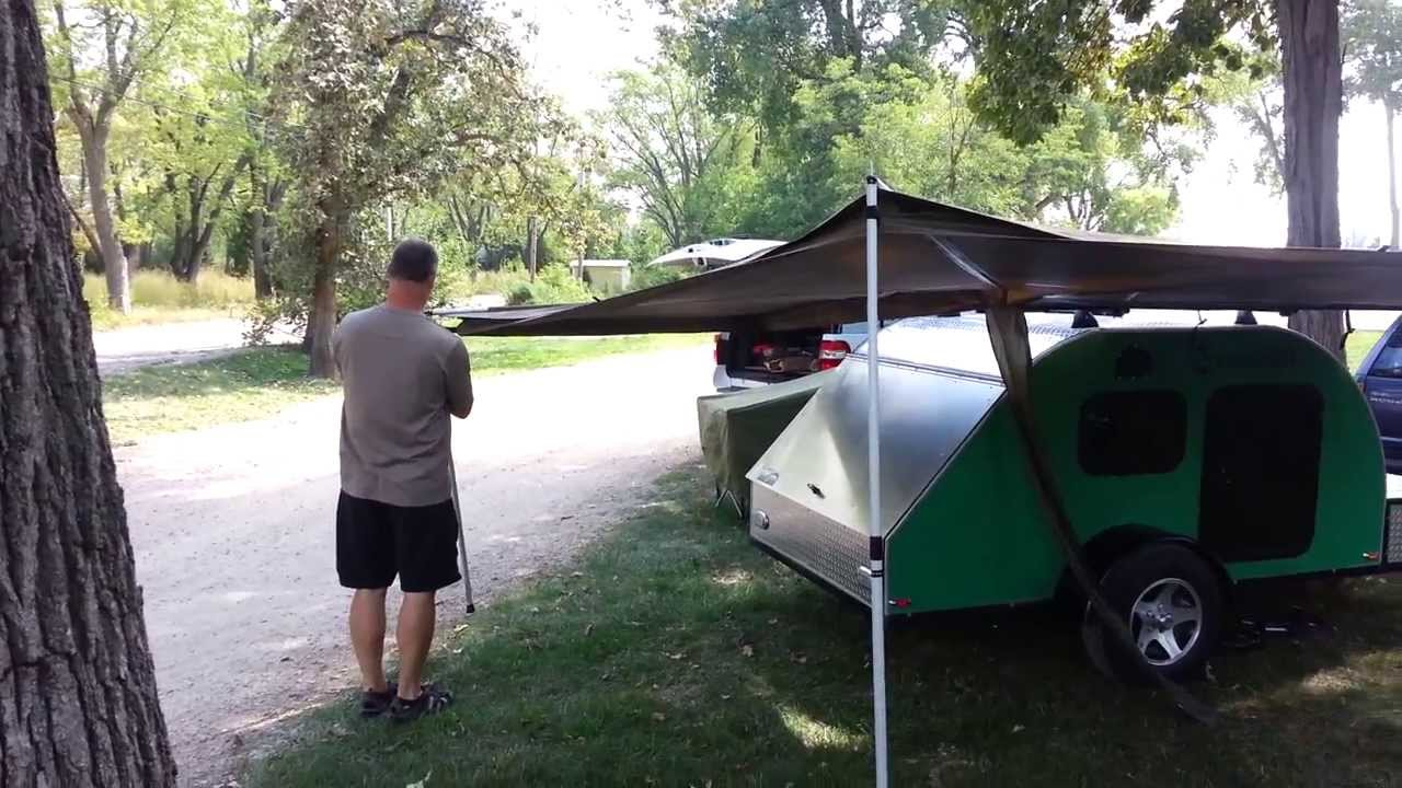 Foxwing Awning Set Up On A Teardrop Trailer Youtube