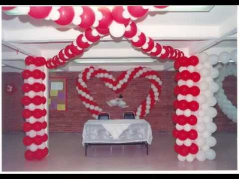 Xv a os y bodas decoracion con globos youtube for Arreglos de salon con globos