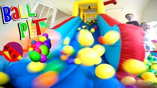 Giant Inflatable Water Slide Ball Pit in Our House! Family Fun Indoor Kids Activities WeeeFamFun