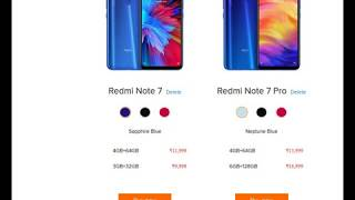 Redmi Note 7 Pro v/s Redmi Note 7 mobile phone Compare models