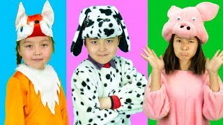 Children with animals costumes wrong head funny story