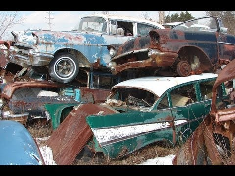 Wrecked Cars For Sale >> Huge Classic Car Junkyard - Wrecked Vintage Muscle Cars - YouTube