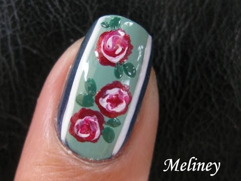 Nail Art Tutorial - Vintage Rose Swirl Flower Garden floral easy simple freehand Design