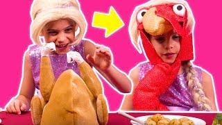 Thanksgiving Turkey Transformation 🦃 Esme Gets Pranked! - Princesses In Real Life | Kiddyzuzaa