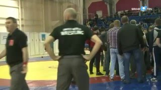 The fight in the Championship of Russia on free-style wrestling among young men