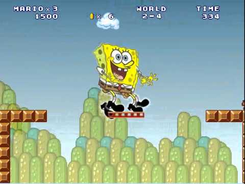 Spongebob Squarepants in Super Mario Bros Stupid