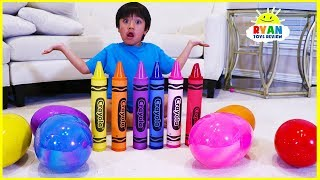Ryan Learn colors with Giant Crayons and opens huge surprise eggs with toys