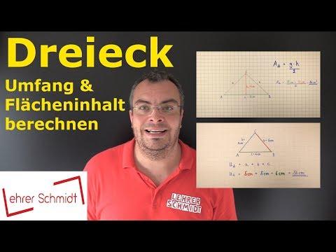Dreieck - Flächeninhalt und Umfang berechnen   Mathematik   Lehrerschmidt - einfach erklärt!