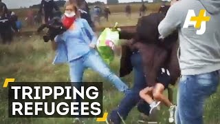 Hungarian Camerawoman Caught Tripping Refugees Running From Police