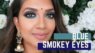Blue Smokey Eyes | Saree Look | Vithya Hair and Makeup