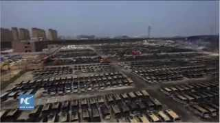 Drone captures panoramic view of Tianjin blast site