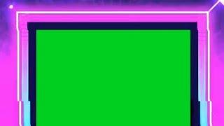 Square NEON Border lighting effect green screen video.