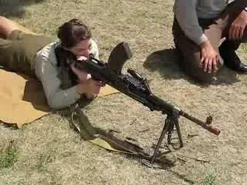 Erika shoots a Bren Gun
