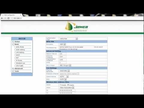 Réglages WIFI pour modem Djaweb