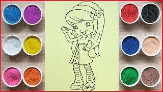 Đồ chơi trẻ em, tô màu tranh cát công chúa bánh anh đào - Colored sand painting toys (Chim Xinh)