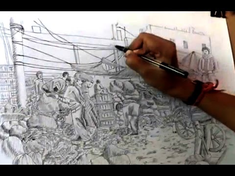 Indian Marketplace Drawing How to draw indian market with