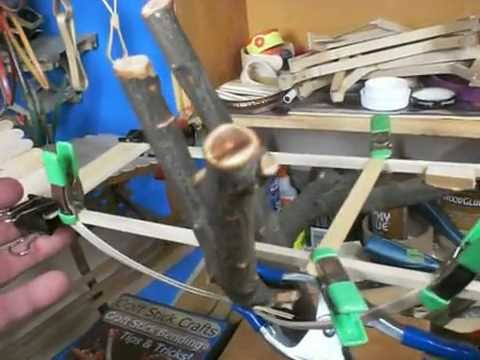 Craft stick catapult tripod tree house elmers glue for How to build a treehouse with sticks