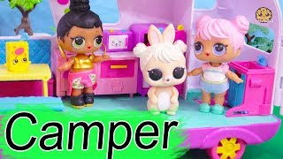 Girls Camper Trip ! LOL Surprise Dolls Go On Vacation - Cookie Swirl C Video