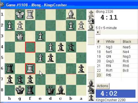 Chess World.net:  Blitz #329 vs iBong (2326) - Queen's pawn: Franco-Indian (Keres) defense (A40)