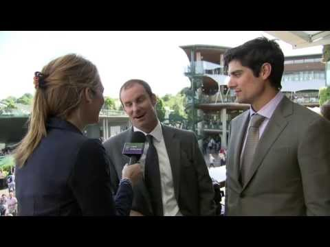 England cricketers Andrew Strauss and Alastair Cook visit Wimbledon