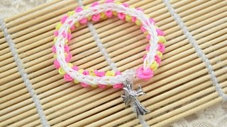 [How to Make Cross Charm Rubber Band Bracelet] Video