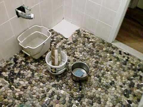 Bathroom Renovation 4: Pebble Tile Makes Me Smile - YouTube