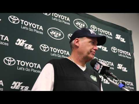 Rex Ryan address the media after the win on last game of season