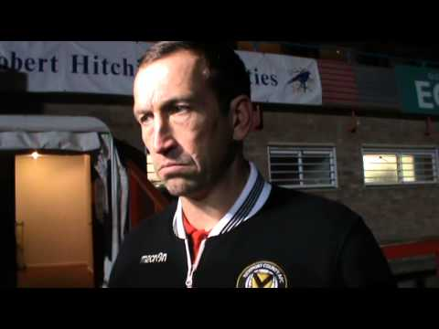 Newport County AFC manager Justin Edinburgh after the 1-0 win at Cheltenham Town
