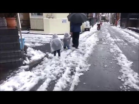Kids playing in snow in Tokyo ! Japan 2016