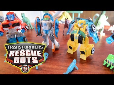 Rescue Bots Transformers toys Bumblebee Optimus Prime Playskool Heroes toy videos for children