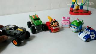 Robocar Poli and friends play dinosaurs game with monster trucks