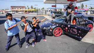 SUPERCAR OWNER HUMILIATED BY PINK HELLO KITTY PRANK!  *RODEO DRIVE REACTIONS*