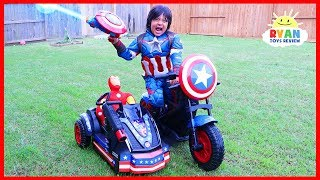 Avengers Superhero Captain America Motorcycle Power Wheels Ride On Car!