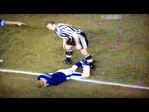 Neil Lennon viciously headbutts alan shearers boot!