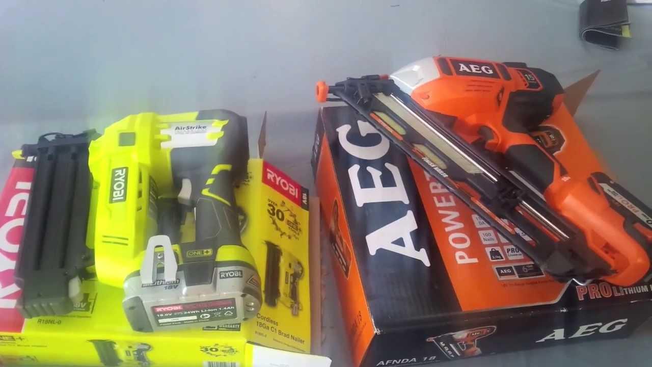 Ryobi 18v One Nail Gun vs Aeg