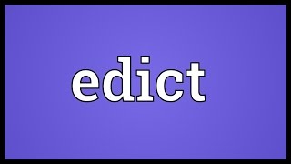 Edict Meaning