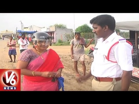 Mahabubabad Police Conducts  Awareness Program On Helmet Drive | V6 News