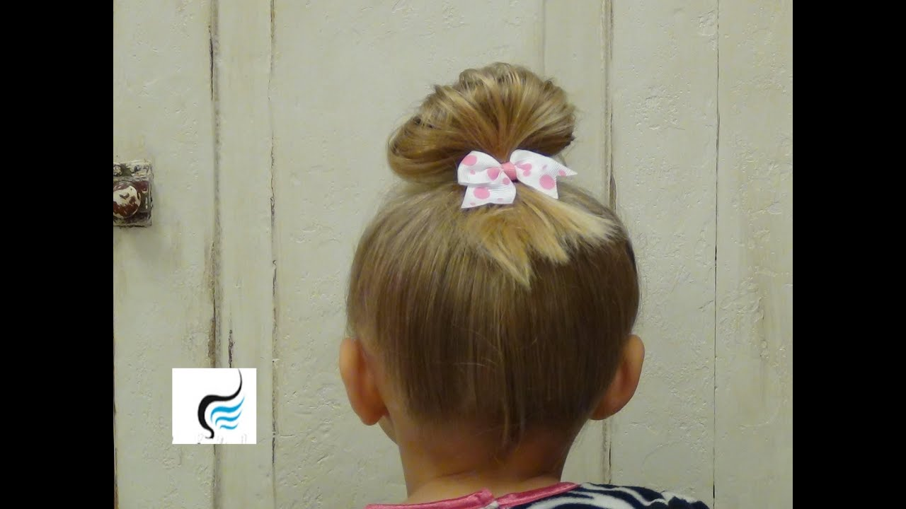 Cutest Little Girls Top Knot Bun Hairstyle Tutorial YouTube