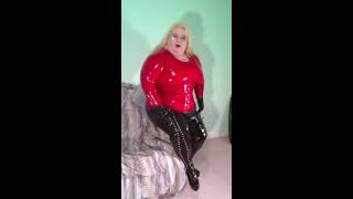 12 004  BBW FetishKimmy Red Latex Top and Red Corset  Shortened Clip for YouTube