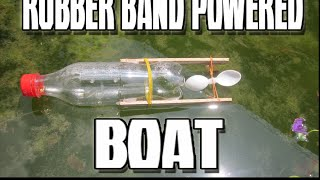 How to make rubber band powered BOAT | DIY |