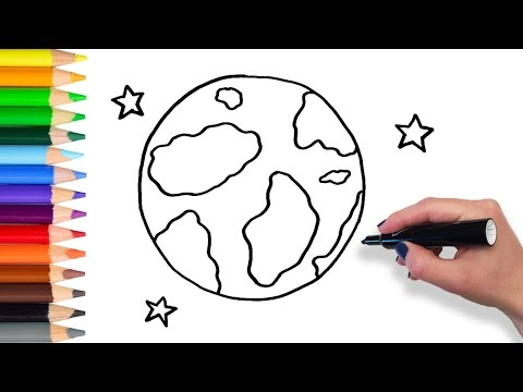 Learn How to Draw Earth and Stars | Teach Drawing for Kids and Toddlers Coloring Page Video