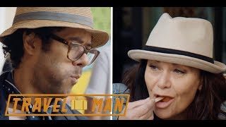 Richard Ayoade & Dawn French eat doughnuts in Athens   Travel Man 48hrs in...Athens
